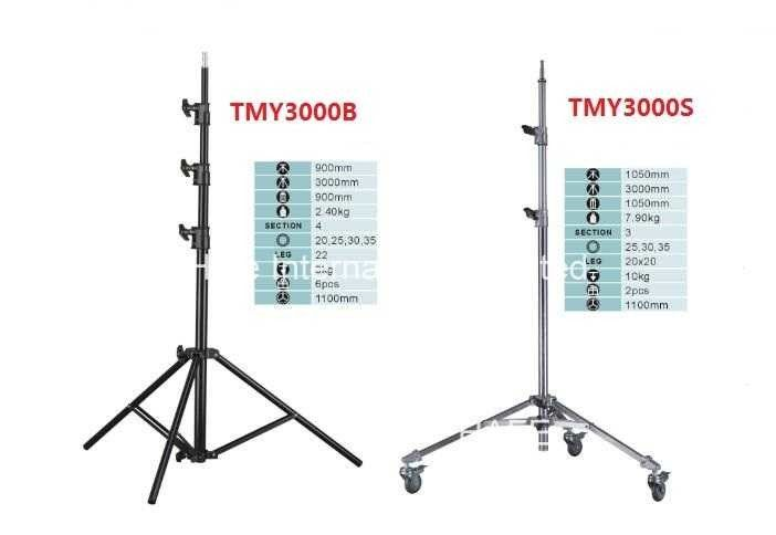Air Damped Studio Photography Light Tripod Stand Aluminum Folded with Flexible Leg